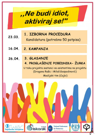 Reklamni poster za kampanju biranja predsenika parlamenta zaječarske gimnazije